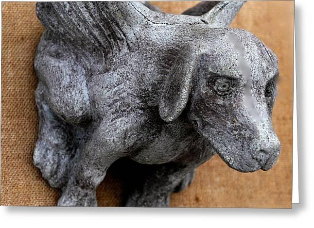 Flying Dog Gargoyle Greeting Card by Katia Weyher