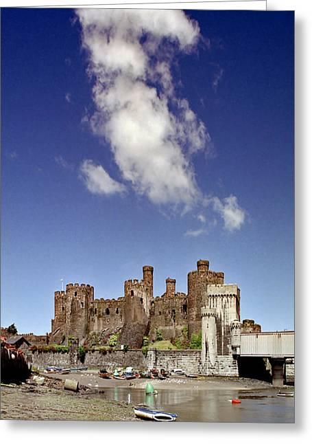 Flying Dragon Conwy Castle Greeting Card