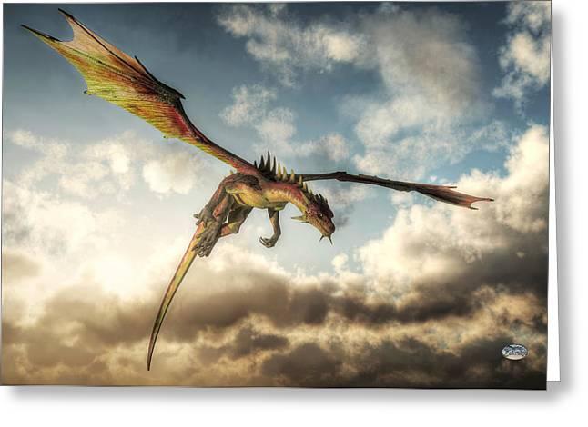 Flying Dragon, Death From Above Greeting Card by Daniel Eskridge