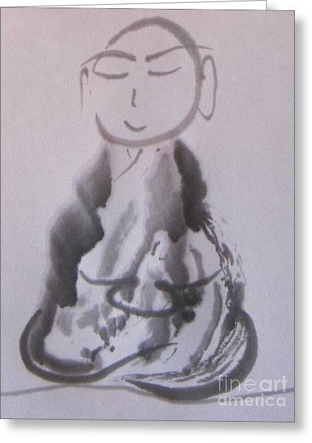 Flying Eyebrows Monk Greeting Card by Daishin McCabe