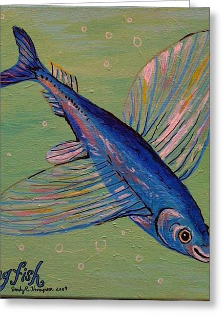 Flying Fish Greeting Card by Emily Reynolds Thompson