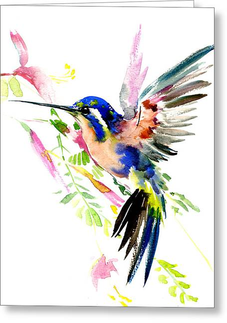 Flying Hummingbird Ltramarine Blue Peach Colors Greeting Card