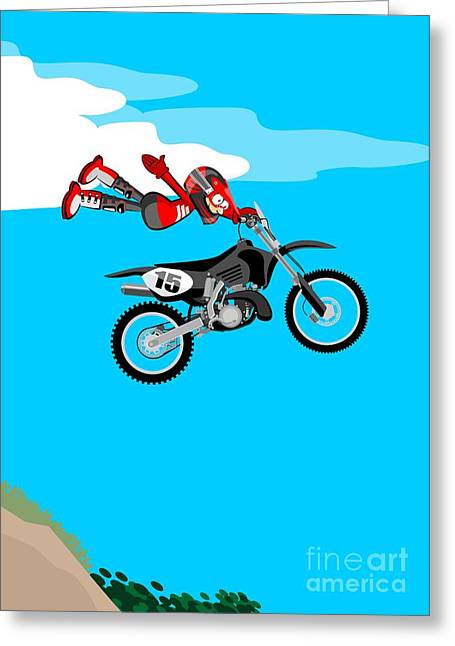 Flying In A Motocross Taking The Handlebars With One Hand Greeting Card
