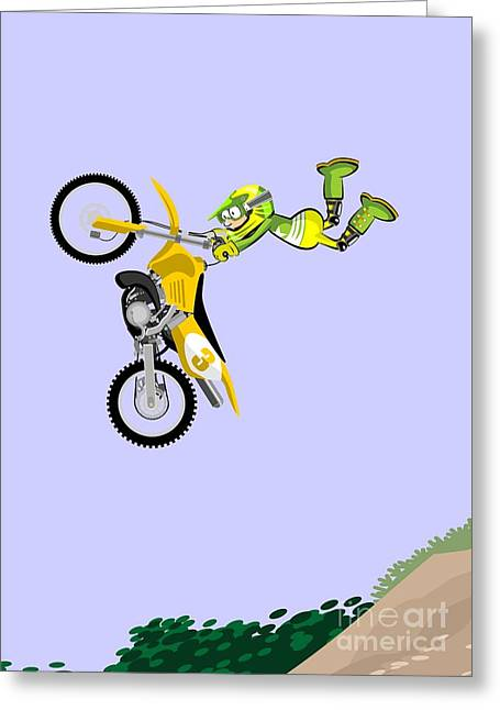 Flying In A Yellow Motocross Taking The Handlebars With Both Hands Greeting Card