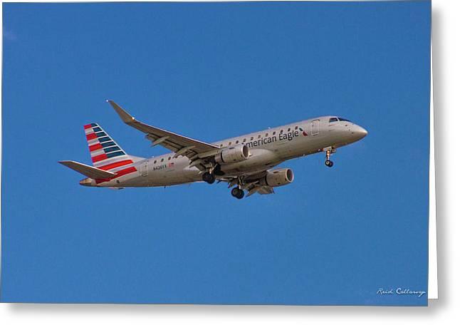Flying In American Eagle Embraer 175 N426yx Greeting Card by Reid Callaway