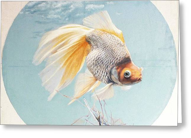 Flying In The Clouds Of Goldfish Greeting Card by Chen Baoyi