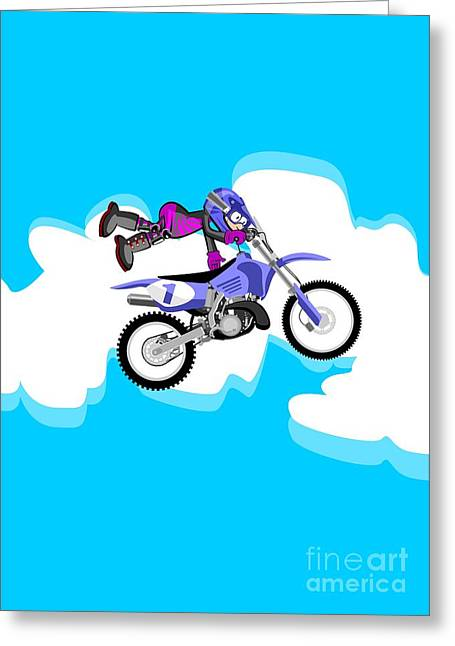 Flying In The Sky In A Fast Motocross Greeting Card
