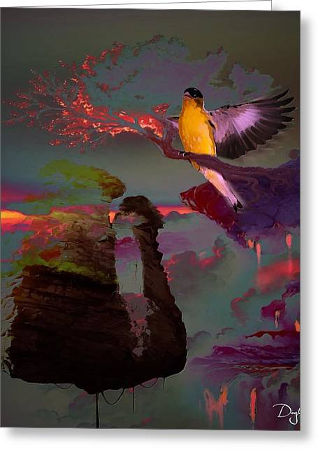 Flying Islands At Sunrise Greeting Card