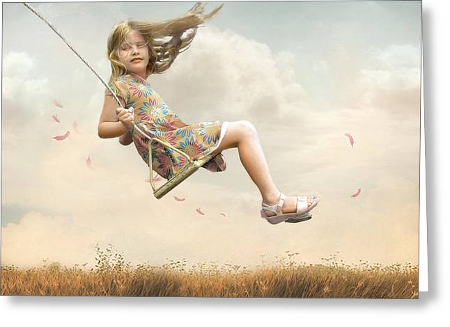 Girls Greeting Cards - Flying Greeting Card by Joel Payne