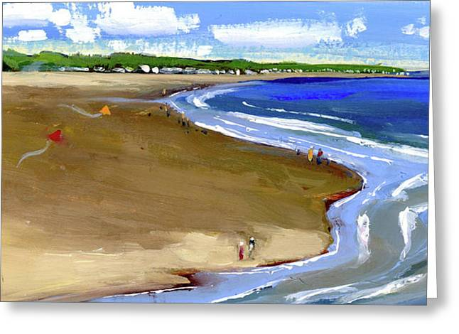 Flying Kites At The Beach Greeting Card by Mary Byrom