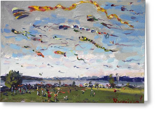 Flying Kites Over Gratwick Park Greeting Card