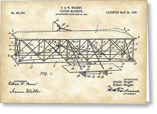 Flying Machine Patent 1903 - Vintage Greeting Card