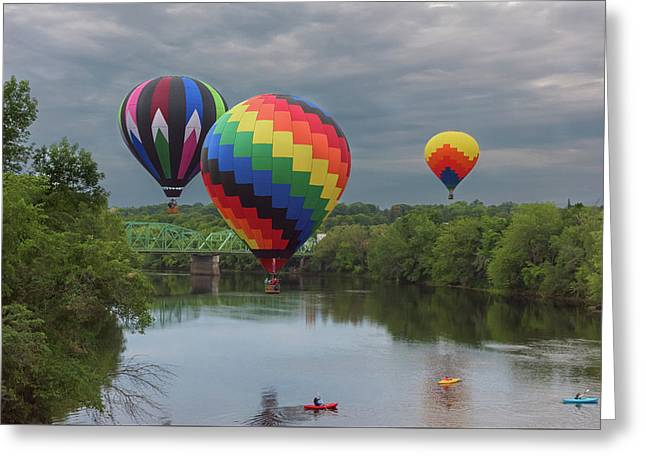 Flying Over The Androscoggin Greeting Card