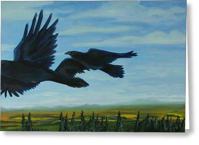 Flying Over The Tanana Flats Greeting Card by Amy Reisland-Speer
