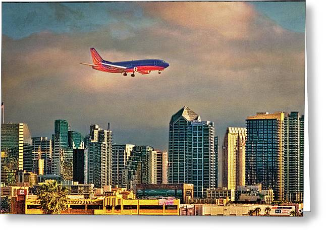 Flying Past Downtown Greeting Card by Chris Lord