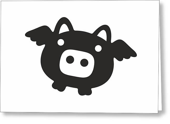 Flying Pig - Black Greeting Card by Julia Jasiczak