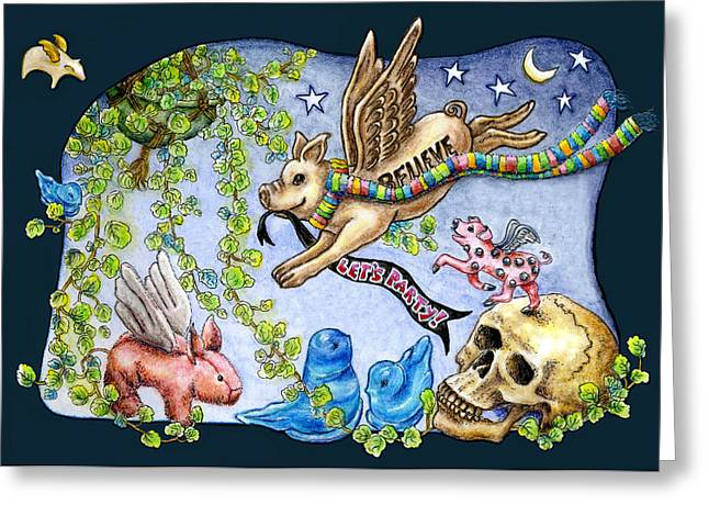 Flying Pig Party 2 Greeting Card by Retta Stephenson