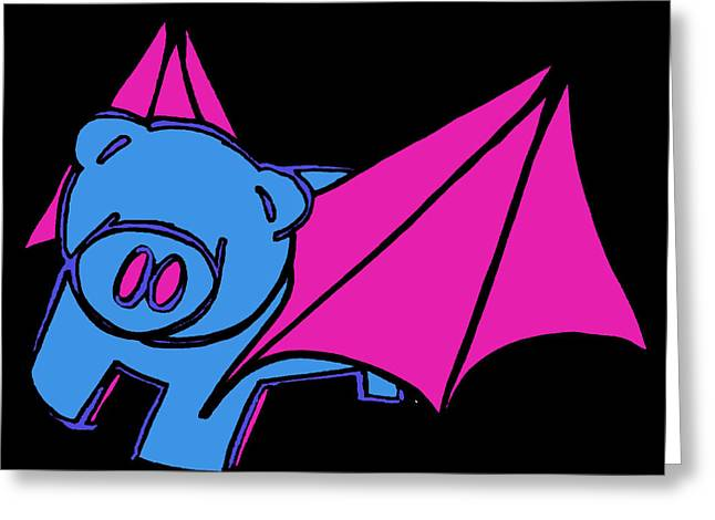 Flying Piggy On Black Greeting Card by Jera Sky