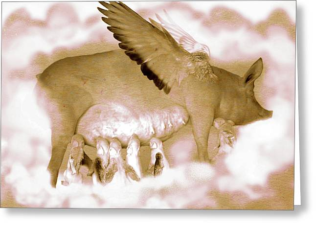 Flying Pigs Greeting Card