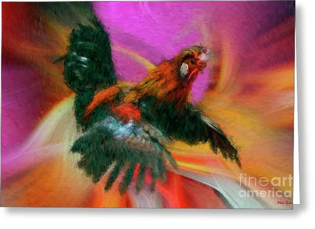 Flying Rooster Greeting Card by Blake Richards