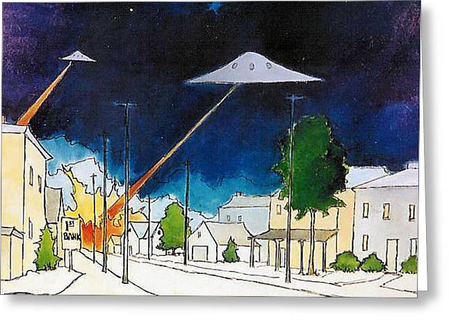 Flying Saucer Attack Greeting Card by James Smith