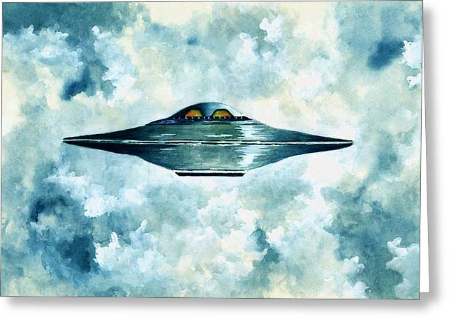 Flying Saucer Greeting Card by Michael Vigliotti