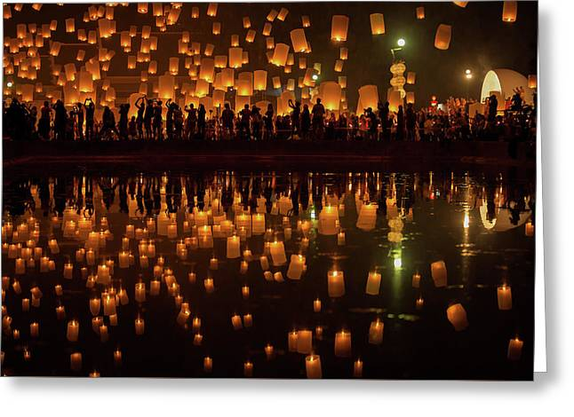 Flying Sky Lantern On Yeepeng Festival Greeting Card by Anek Suwannaphoom