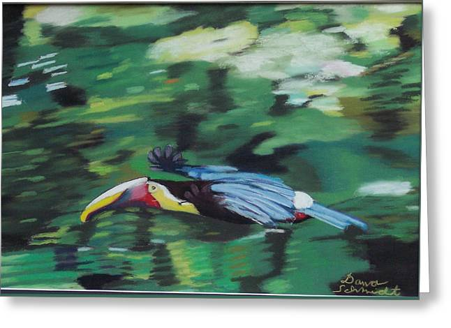 Flying Toucan In Costa Rica Greeting Card