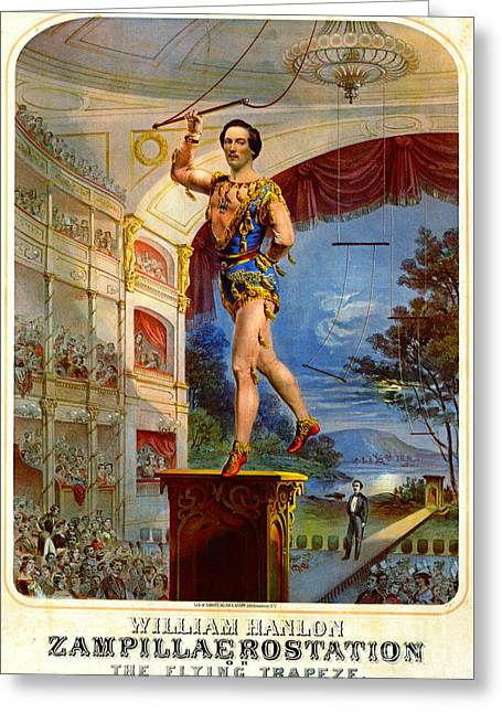 Greeting Card featuring the photograph Flying Trapeze 1850 by Padre Art