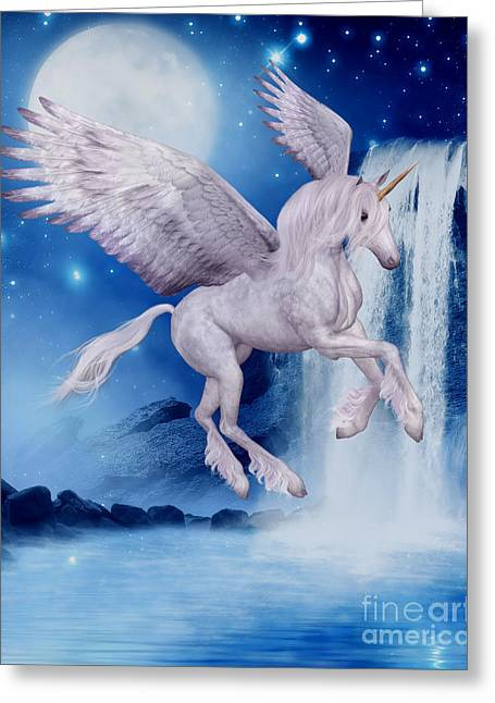 Flying Unicorn Greeting Card by Smilin Eyes  Treasures