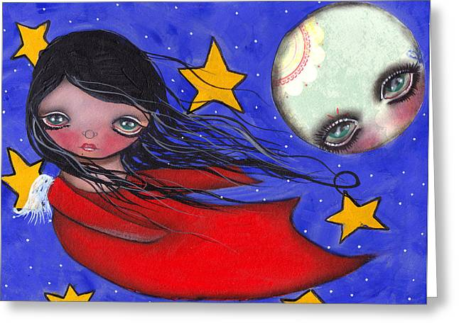Flying With The Moon Greeting Card by  Abril Andrade Griffith