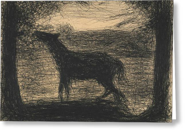 Foal Greeting Card by Georges-Pierre Seurat