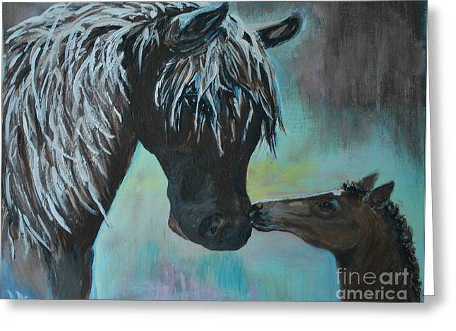 Greeting Card featuring the painting Foal Kiss by Leslie Allen