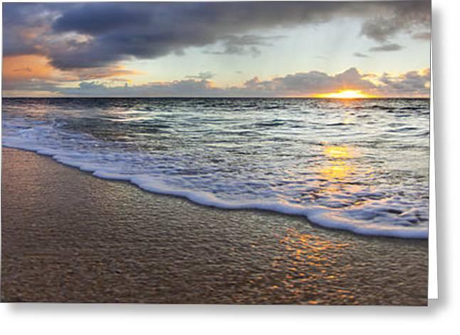 Foam Sunset Greeting Card by Sean Davey
