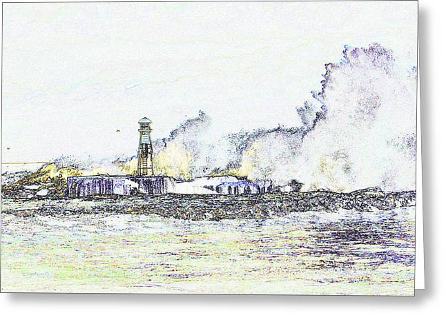Greeting Card featuring the photograph Foamy Sea At The Breakwater by Nareeta Martin