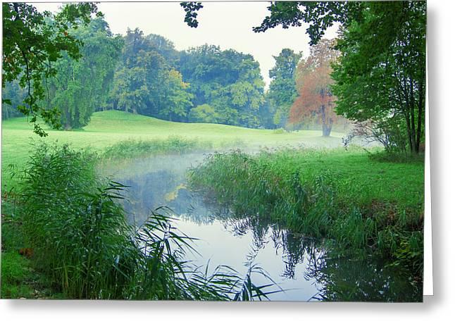 Fog Along A Creek In Autumn Greeting Card