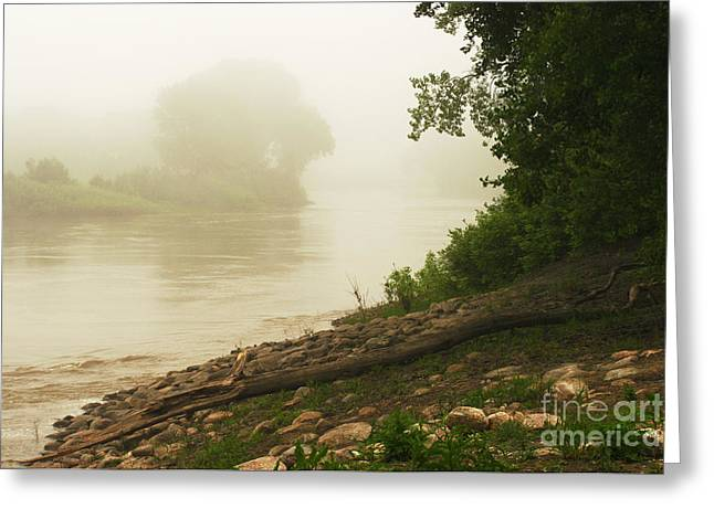 Greeting Card featuring the photograph Fog Along The Red by Steve Augustin