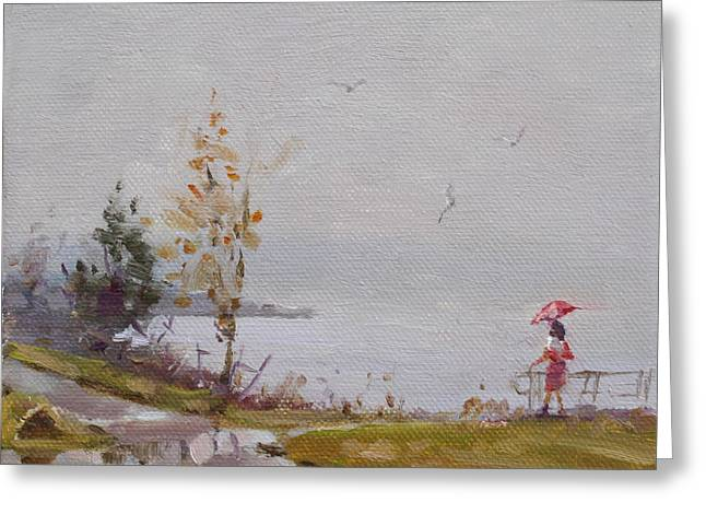 Fog And Rain At Gratwick Waterfront Park Greeting Card by Ylli Haruni