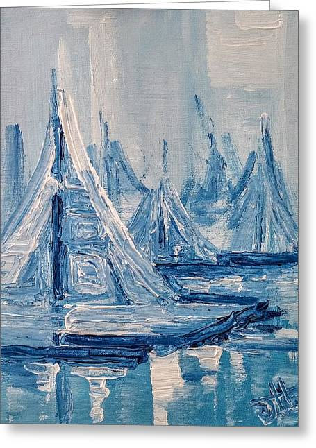 Greeting Card featuring the painting Fog And Sails by Jennifer Hotai