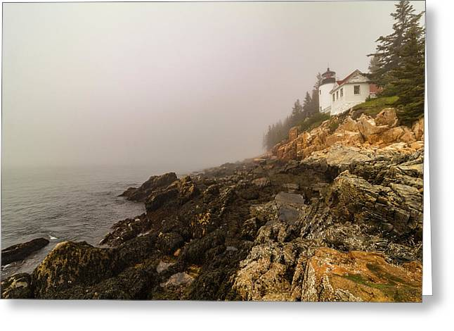 Greeting Card featuring the photograph Fog At Bass Harbor Lighthouse by Jeff Folger