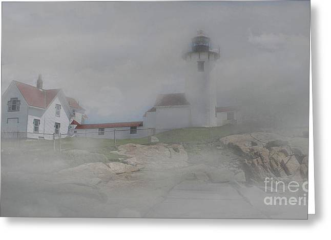 Fog At Eastern Point Greeting Card by Skip Willits