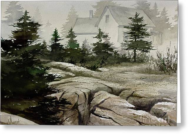 Greeting Card featuring the painting Fog At The Coast by James Williamson