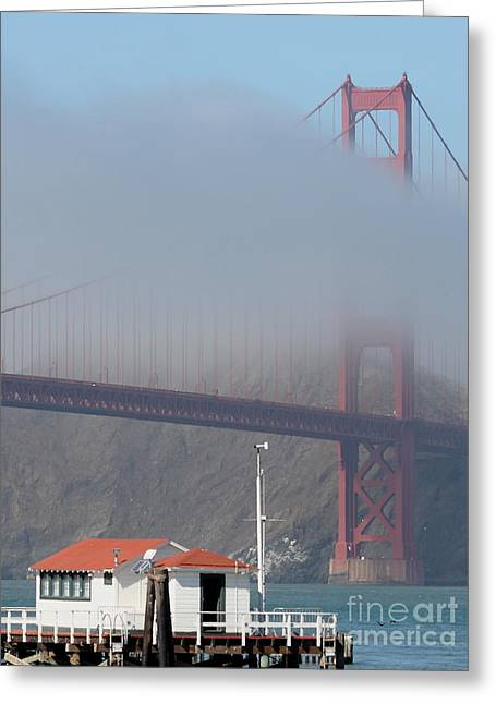 Fog At The Golden Gate Bridge 5 Greeting Card by Wingsdomain Art and Photography
