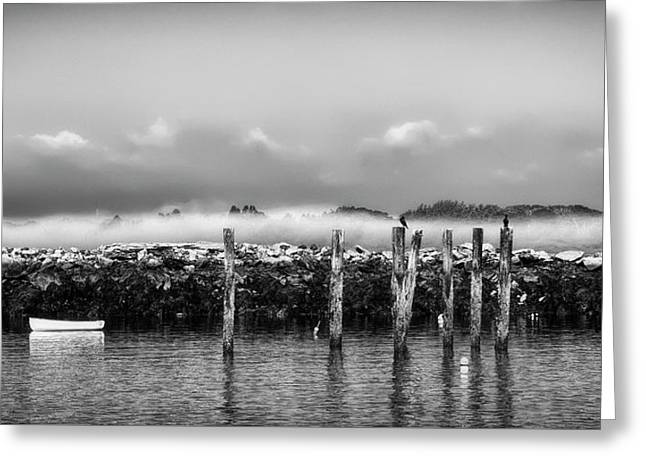 Fog Beyond The Breakwater Greeting Card