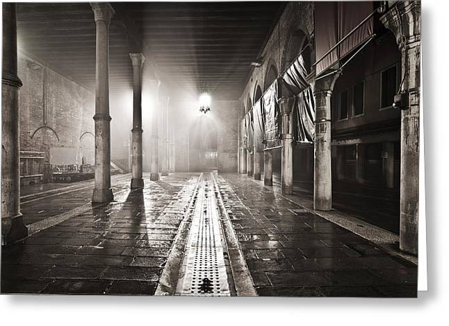 Fog In The Market Greeting Card by Marco Missiaja