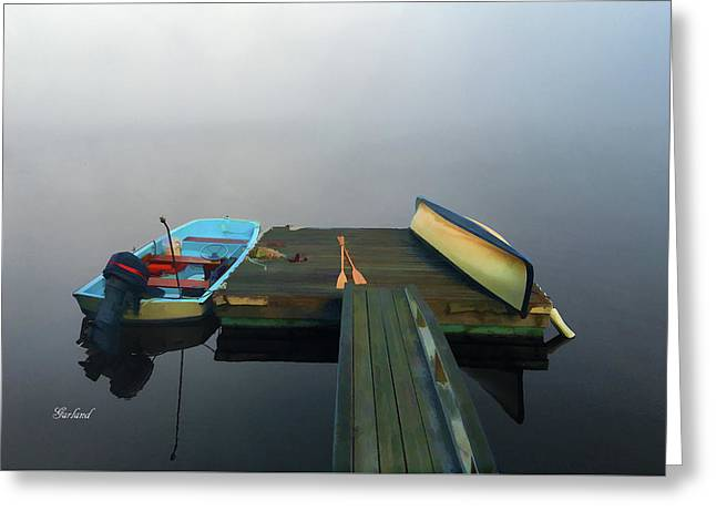 Fog Moves Out From The Deck Greeting Card by Garland Johnson
