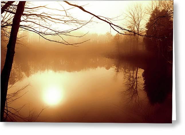Fog On Shelly Lake - 2 Greeting Card by Alan Hausenflock