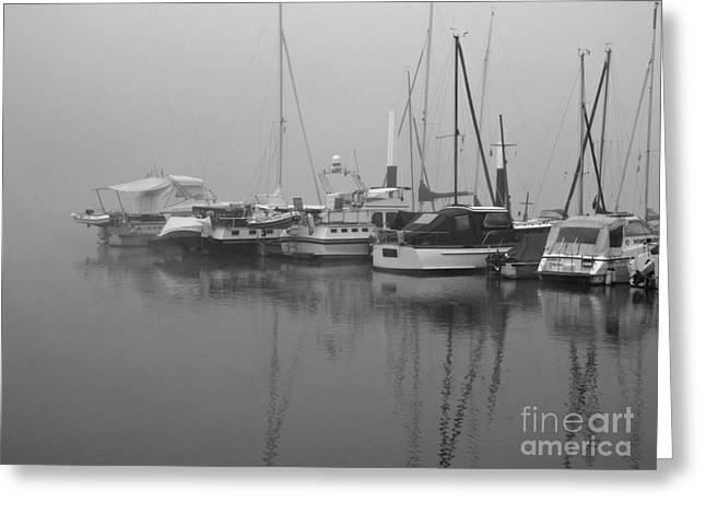 Fog On The Rhine  Grayscale Greeting Card by Sarah Loft