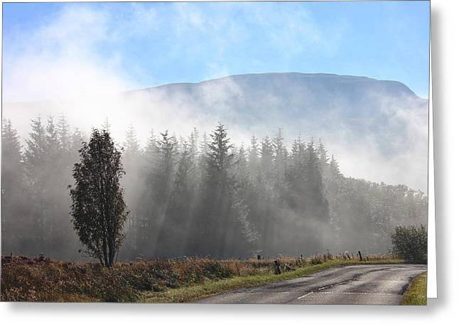 Fog On The Road To Fintry Greeting Card by RKAB Works