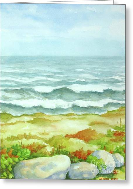 Greeting Card featuring the painting Fog Over Cocoa Beach by Inese Poga